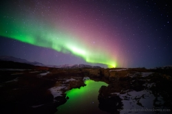 Northern lights in Thingvellir, Iceland